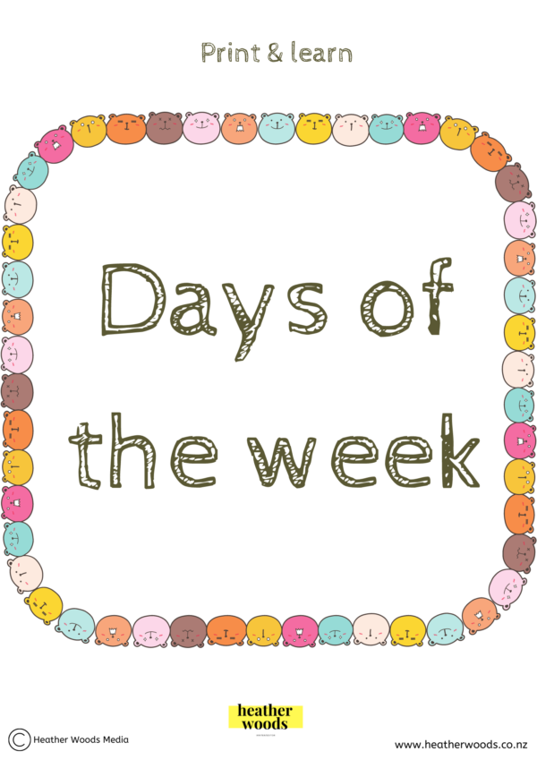 Print & Learn | Days of the week | | Heather Woods Media